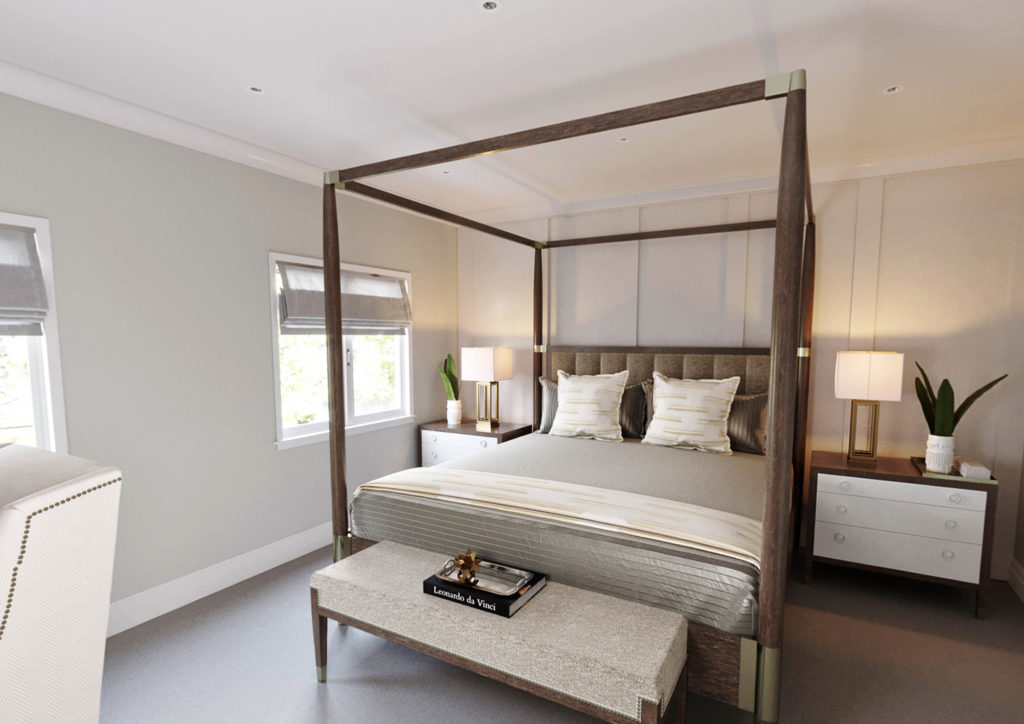 bed with large frame