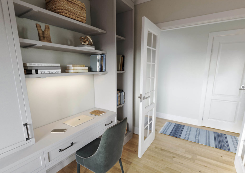 white desk top area