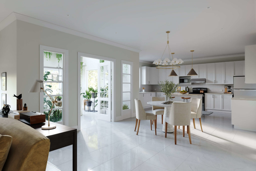 white home dining area