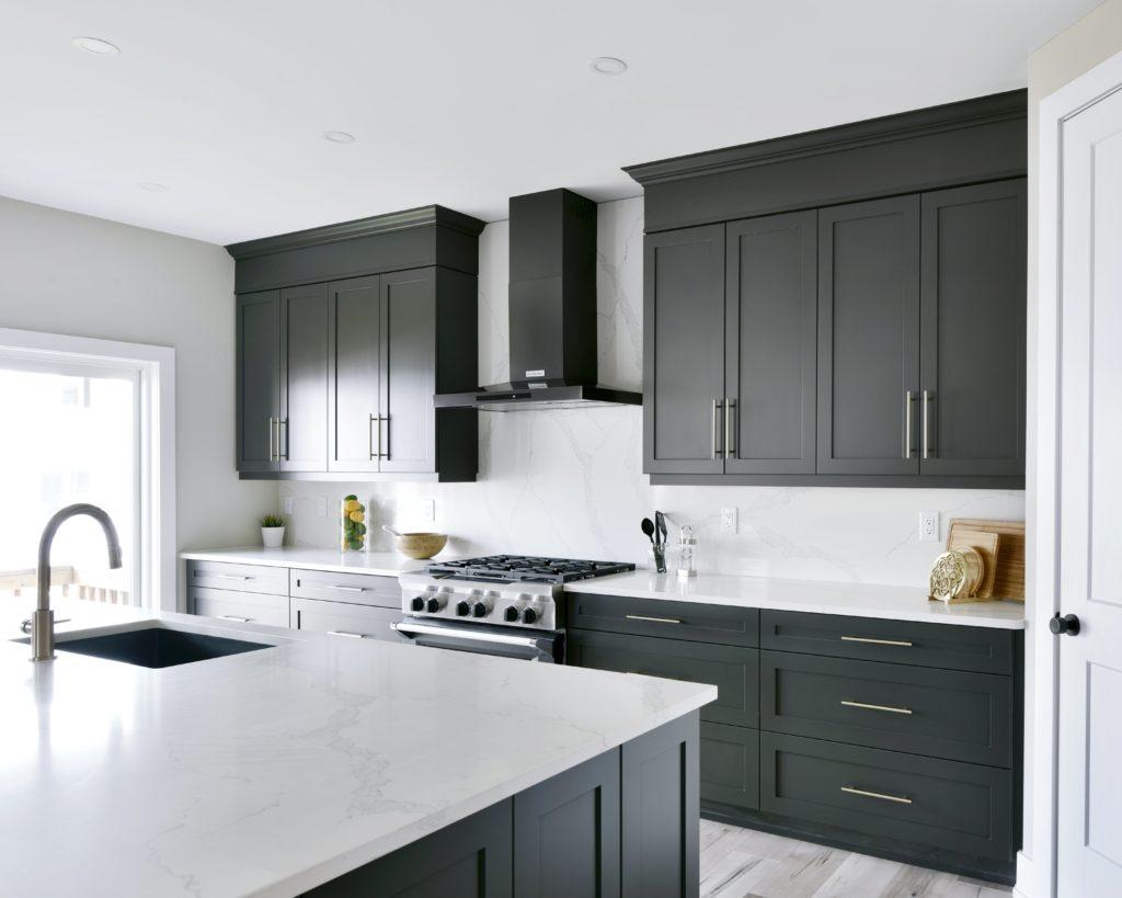 black wooden cupboards kitchen