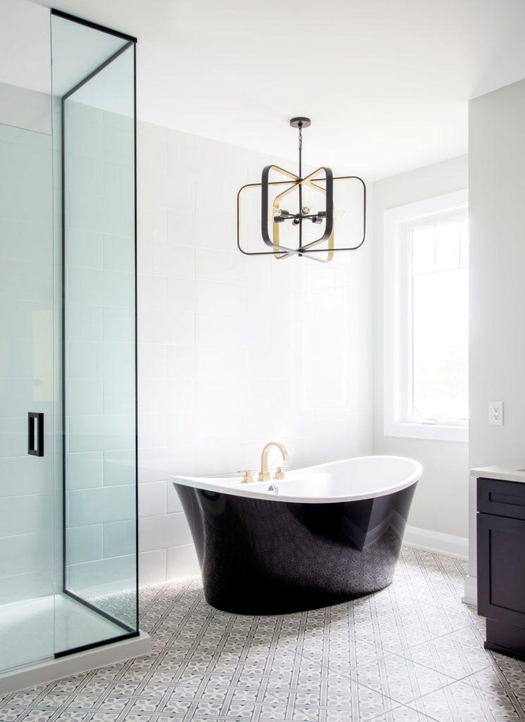 black bath tub washroom