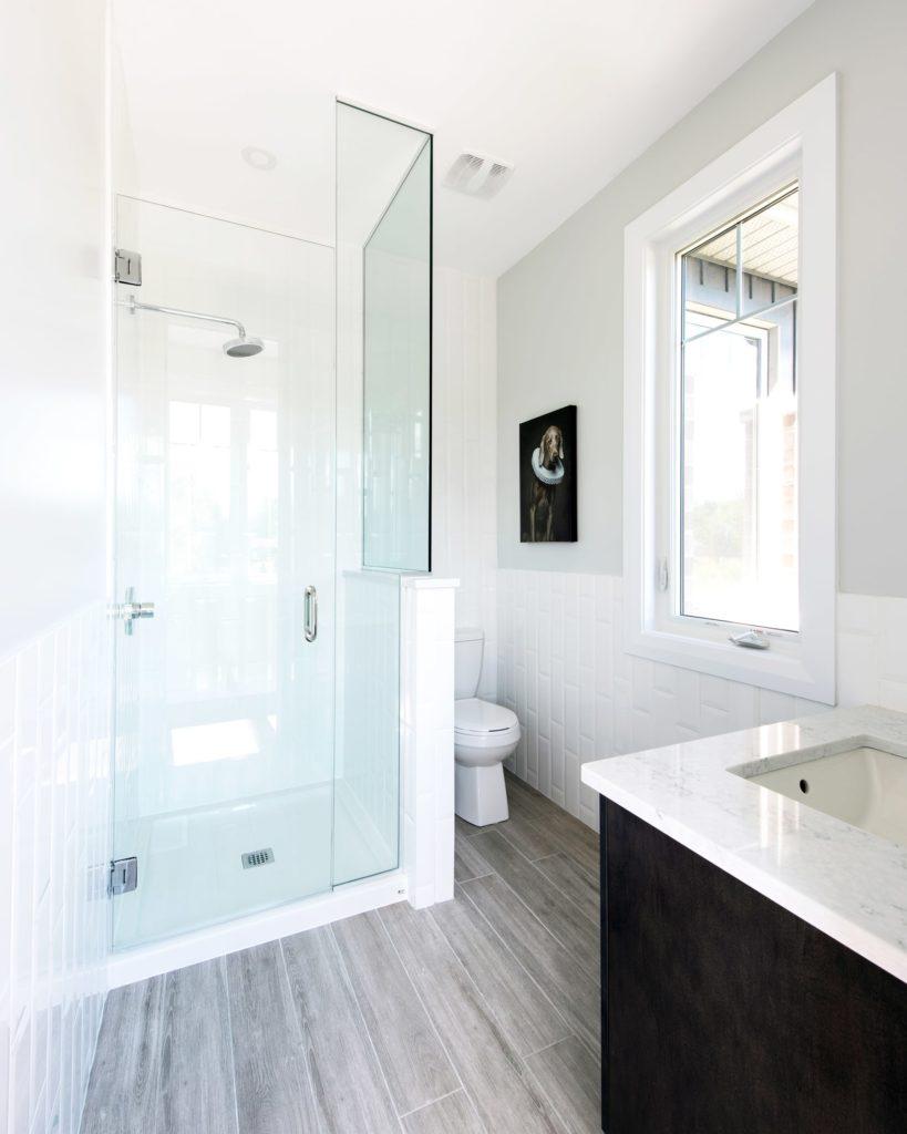 white glass shower bathroom