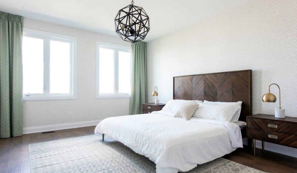 wooden bedframe master bedroom