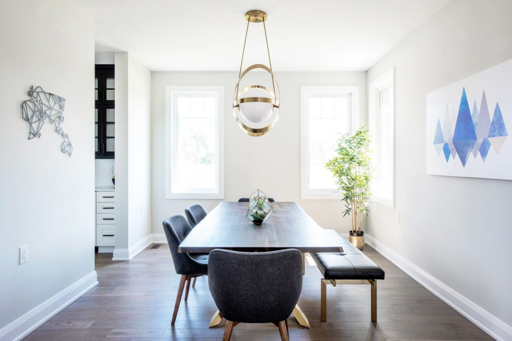 modern style dining area