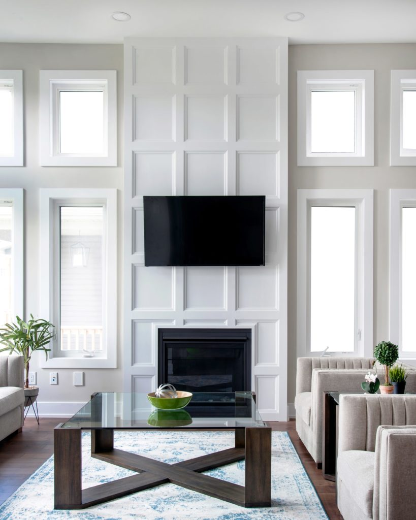 fireplace and mounted tv