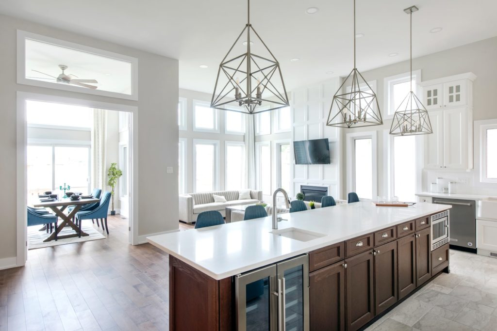 white countertop and dining room view