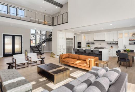 Open concept grey home
